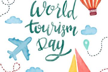 水彩绘世界旅游日艺术字矢量图