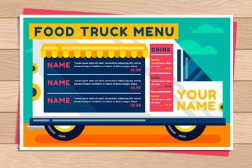 彩色快餐车菜单设计矢量素材