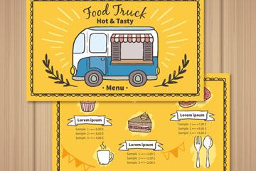 彩绘快餐车菜单正反面矢量素材