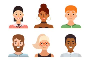 9款创意人物笑脸头像矢量素材
