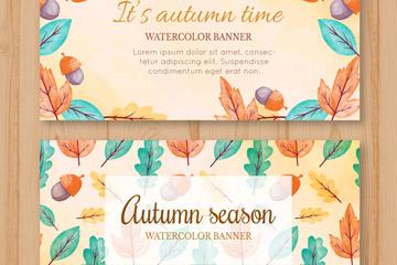 2款彩绘秋季橡子和树叶banner矢量图