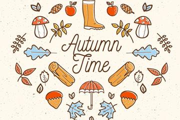 彩绘秋季元素设计矢量素材
