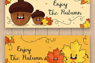 2款彩绘可爱秋季植物banner矢量图