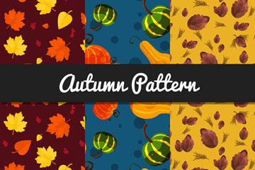 3款水彩绘秋季元素无缝背景矢量图