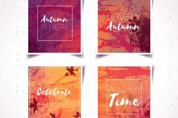 4款水彩绘秋季卡片矢量素材