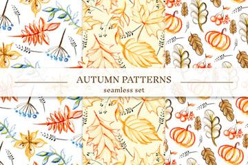 3款彩绘秋季树叶无缝背景矢量素