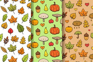 3款可爱秋季元素无缝背景矢量图