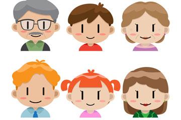 6款卡通家庭人物头像矢量梦之城娱乐