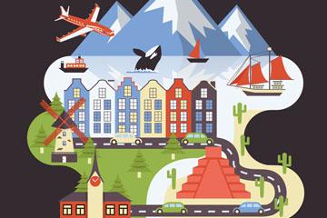 创意世界旅游日风景矢量素材