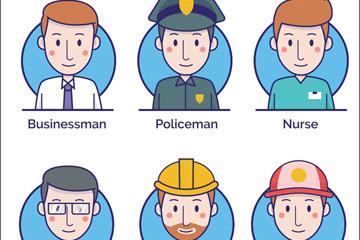 6款创意职业男子头像矢量素材