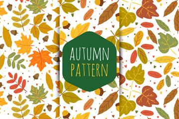 3款手绘秋季树叶无缝背景矢量图