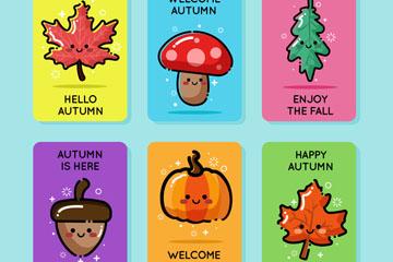 6款可爱秋季表情元素卡片矢量图