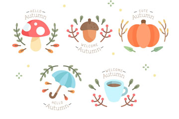 5款彩色秋季元素徽章矢量素材