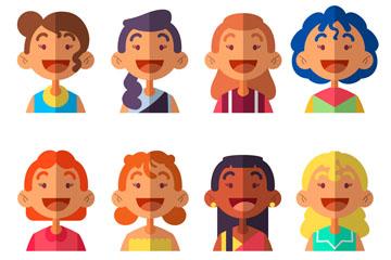 8款扁平化女子半身像矢量素材