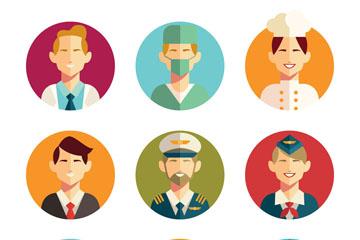 9款扁平化职业男子头像矢量素材
