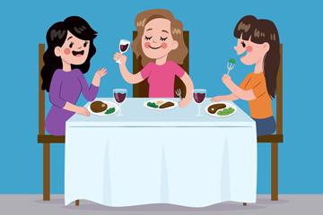 卡通聚餐的3个女子矢量素材