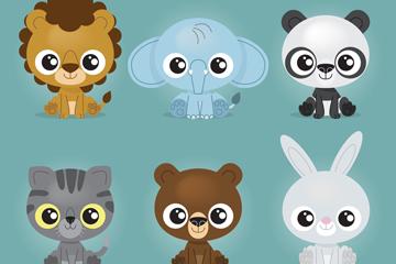 6款卡通坐姿动物矢量素材