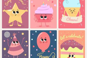 6款可爱生日祝福卡矢量素材