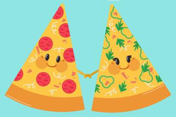 卡通拉手的2个三角披萨矢量图