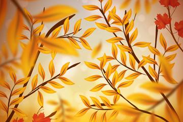 逼真秋季树枝设计矢量素材
