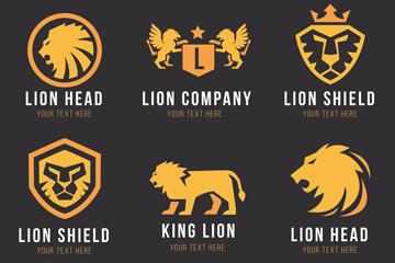 6款金色狮子标志矢量素材