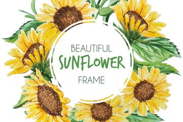 彩绘向日葵花框架设计矢量素材