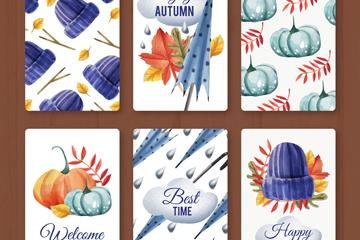 6款水彩绘蓝色系秋季卡片矢量图