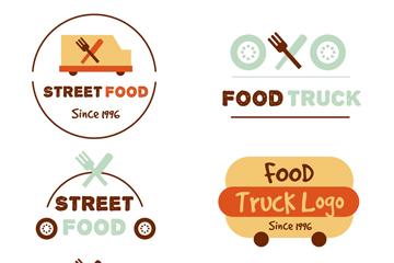 6款彩色快餐车标志设计矢量素材