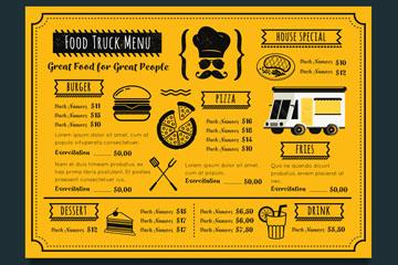 精致快餐车菜单设计矢量素材