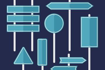 7款扁平化蓝色空白路牌矢量图