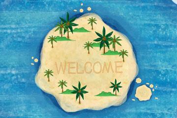 创意世界旅游日岛屿俯视图矢量图