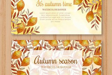 2款手绘秋季树叶banner设计矢量素材