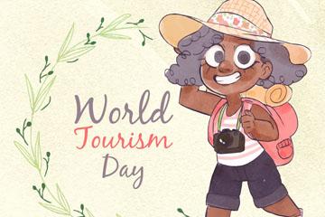 水彩绘世界旅游日女孩矢量素材
