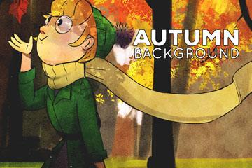 彩绘秋季树林散步的女子矢量图