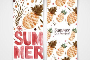 2款水彩绘夏季菠萝卡片矢量图