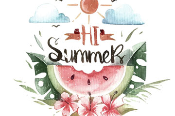 水彩绘夏季西瓜艺术字矢量素材
