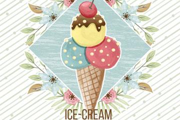 水彩绘夏季花卉和冰淇淋矢量图