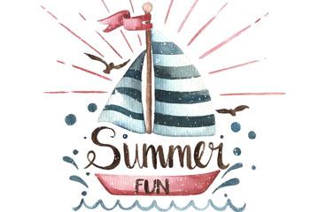 水彩绘夏季帆船艺术字矢量图