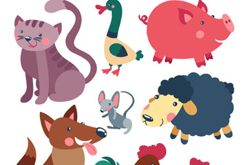 9款卡通农场动物设计矢量图