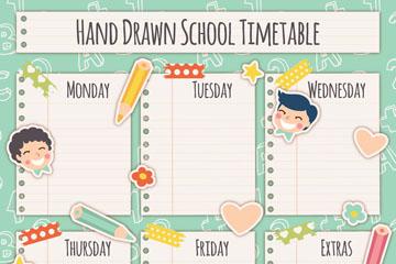 创意儿童贴纸课程表矢量素材