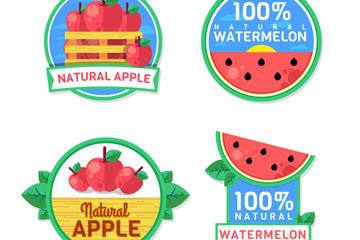 4款创意苹果和西瓜果汁标签矢量图
