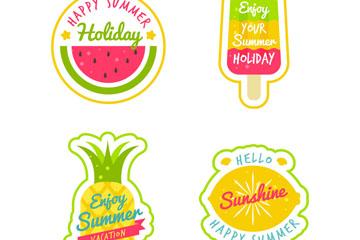 4款彩绘夏季假期标签矢量素材