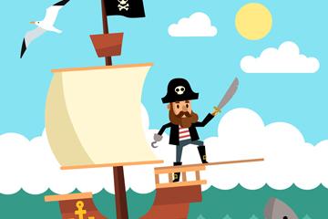 创意海上航行的海盗船矢量素材