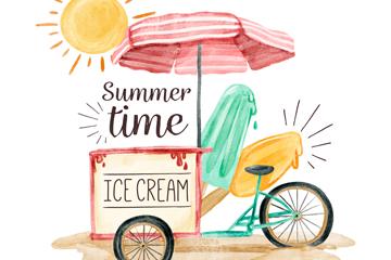 彩绘夏季沙滩冰淇淋车矢量素材