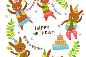 卡通兔子生日祝福卡矢量素材