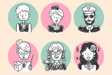 6款手绘职业人物头像矢量素材