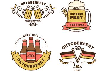 4款彩绘啤酒节标签矢量素材