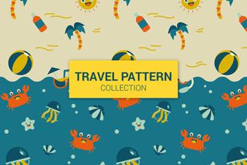 2款可爱旅行元素无缝背景矢量图
