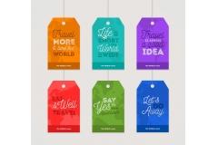 6款彩色旅行隽语吊牌矢量素材