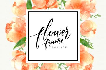 水彩绘粉色蔷薇花框架矢量素材
